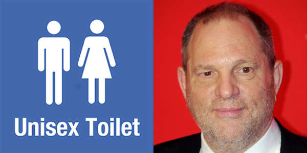 What is the connection between Harvey Weinstein and gender neutral toilets?